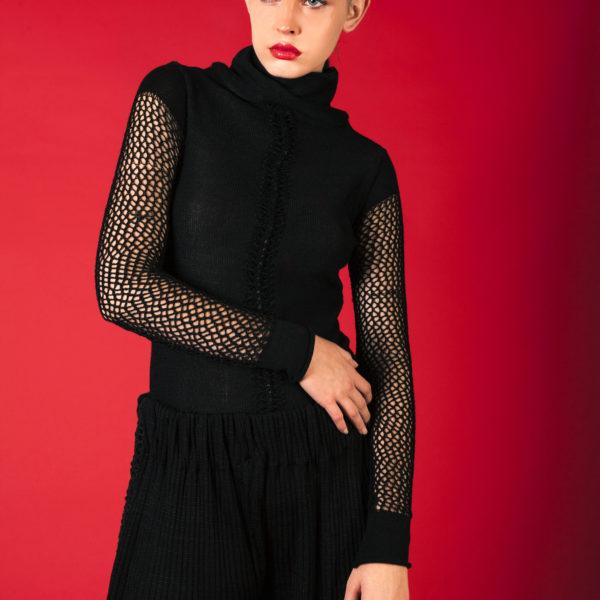 Decorative cashmere jumper black