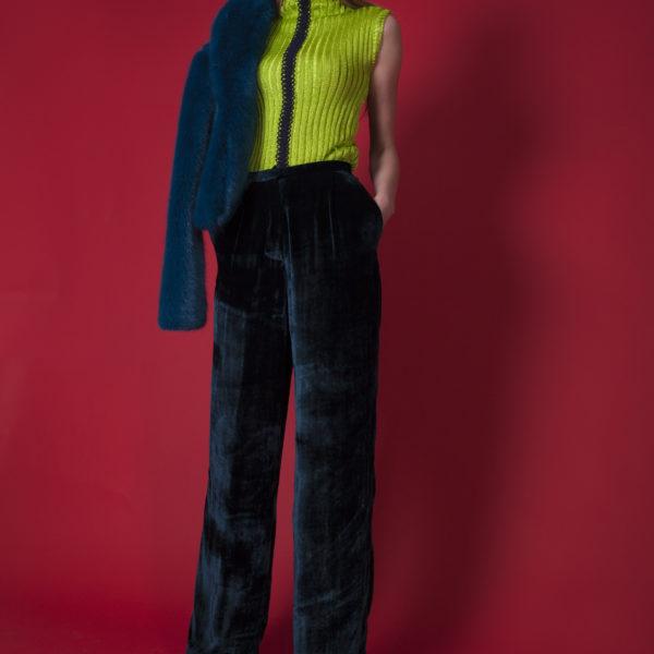 Diesel blue high waist velvet trousers